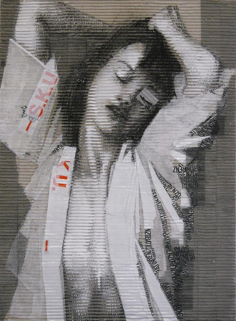 acrilico, carboncino, carta velina, scotch, rete, codice a barre su cartone ondulato. cm 70x 50