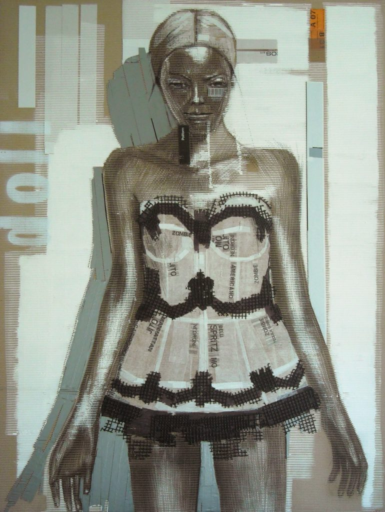 acrilico, carboncino, carta velina, scotch , rete su cartone ondulato. 120x160 cm