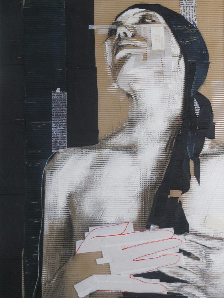 acrilico, carboncino, carta velina, scotch su cartone ondulato. 100x127 cm