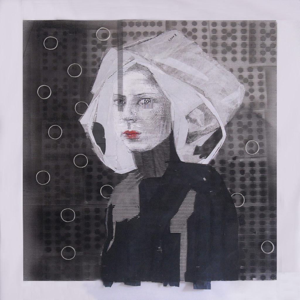 acrilico, carboncino, carta velina, rete, codice a barre su cartone ondulato. 110x110 cm