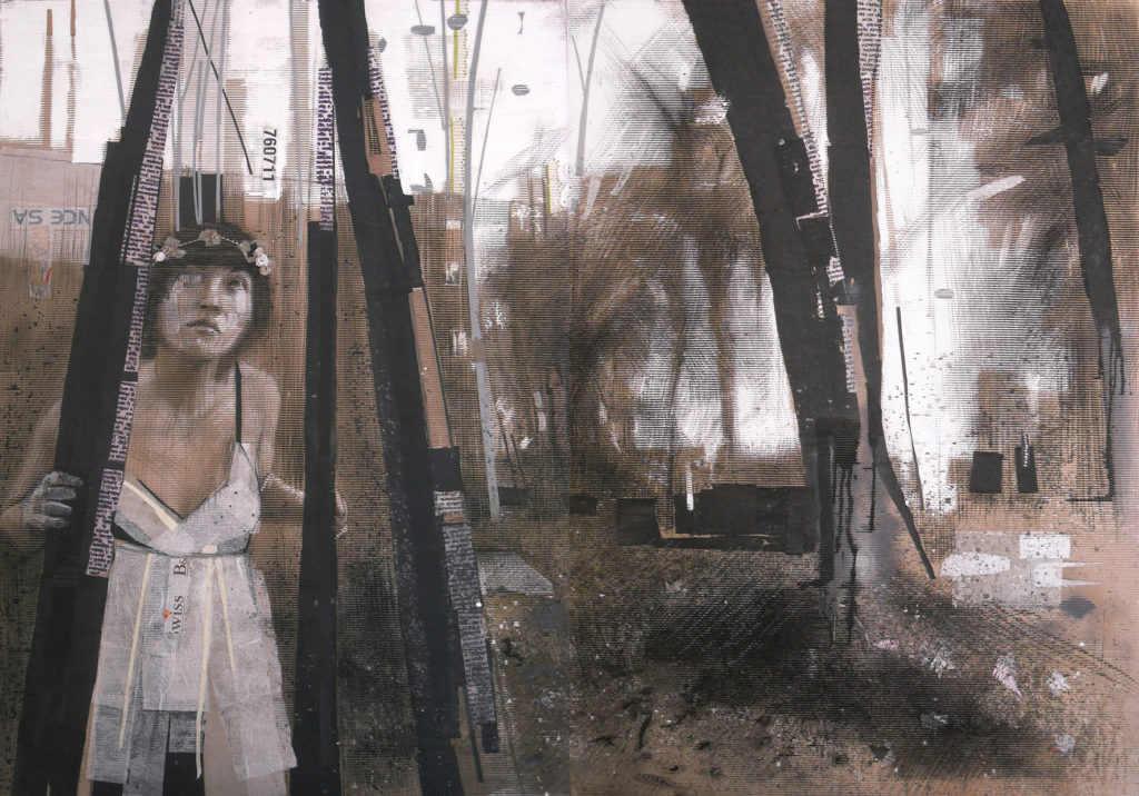 acrilico, carboncino, carta velina, polvere di fusaggine, scotch. 168 x 240 cm
