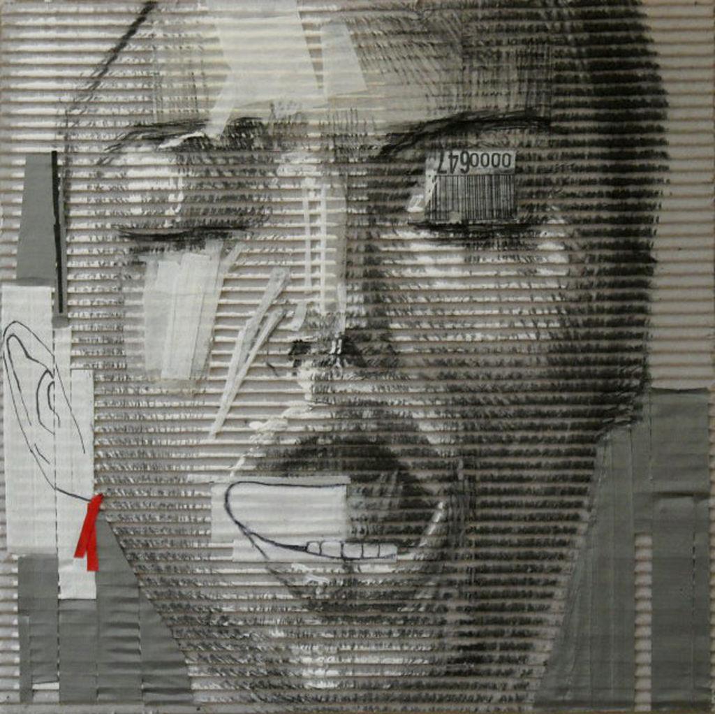 acrilico, carboncino, scotch su cartone ondulato. 40x40 cm