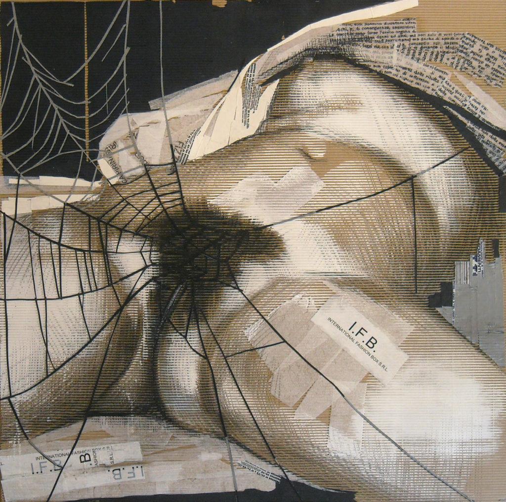 acrilico, carboncino, carta velina, scotch su cartone ondulato. 110 x 110 cm