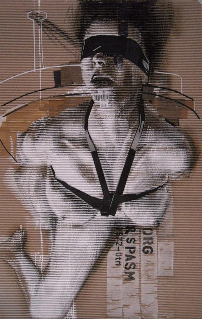 acrilico, carboncino, scotch, codice a barre su cartone ondulato. 100x150 cm