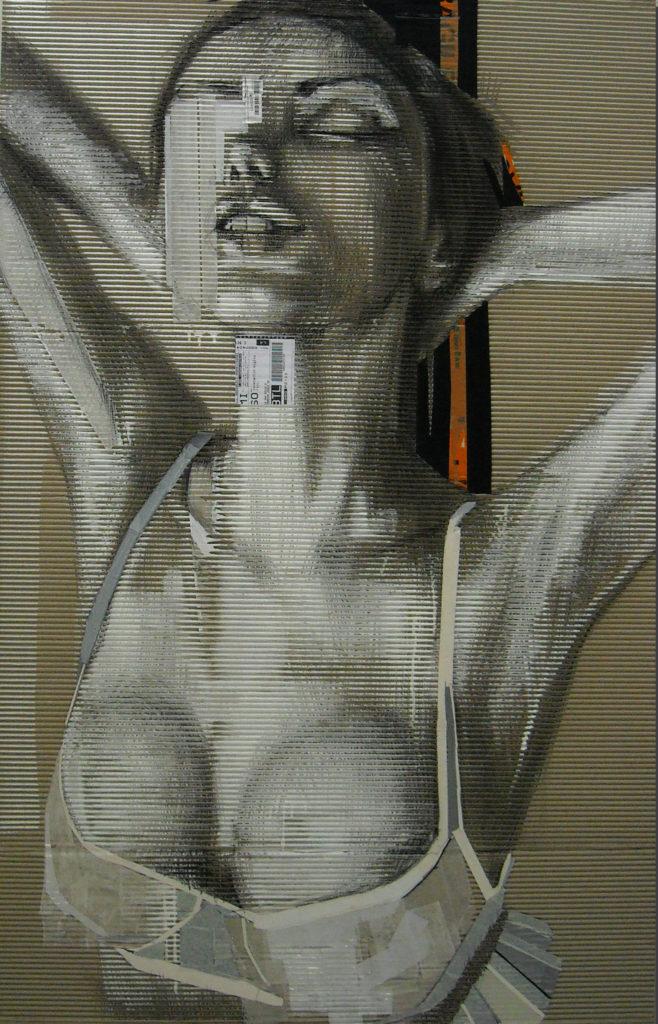 acrilico, carboncino, carta velina, scotch su cartone ondulato. 100x150 cm