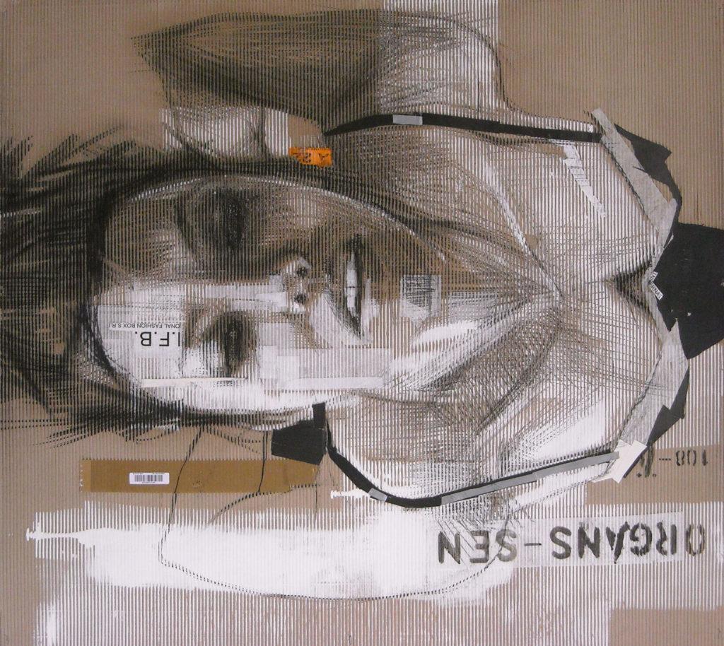 acrilico, carboncino, carta velina su cartone ondulato. 110x100 cm