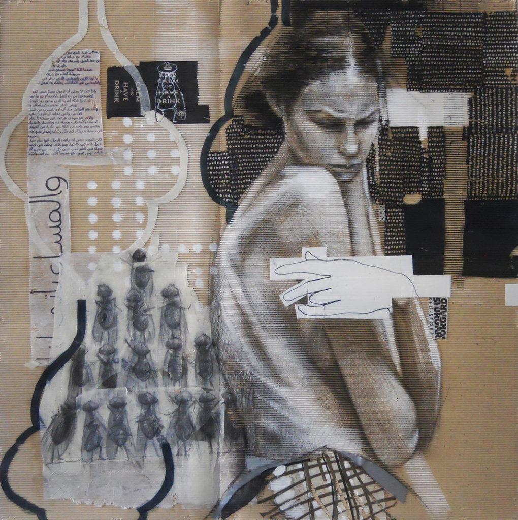 acrilico, carboncino, carta velina, scotch su cartone ondulato - 110x110 cm