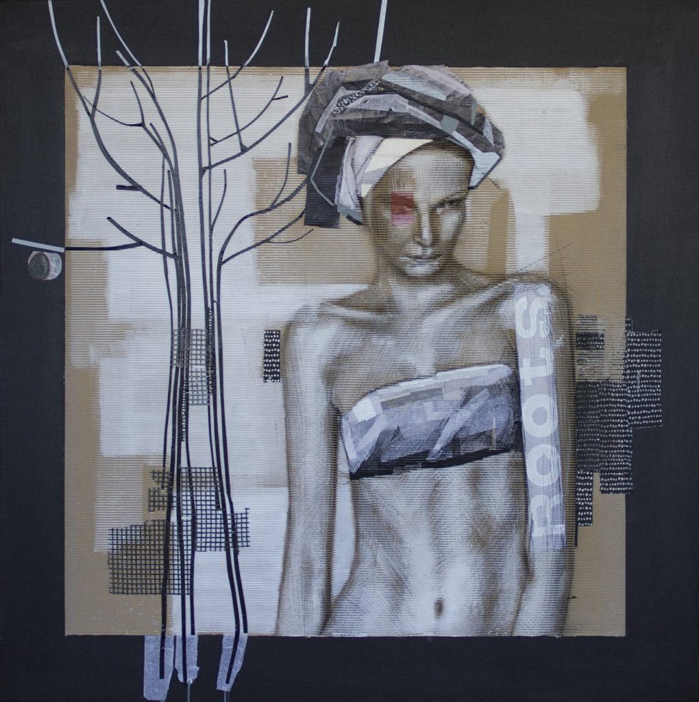 acrilico, carboncino, scotch, carta velina, rete in gomma su cartone ondulato e tela. 120x120 cm