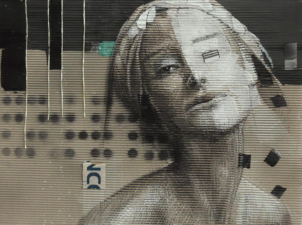acrilico, carboncino, carta velina, codice a barre su cartone ondulato. 50x70 cm